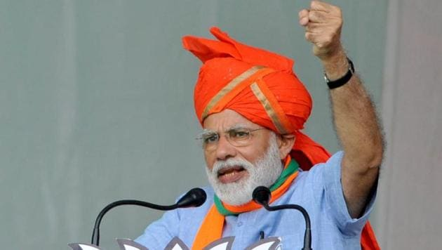 Prime Minister Narendra Modi attacked the BSP and the SP at an election rally in Aligarh on Sunday.(Nitin Kanotra/HT Photo)