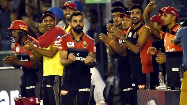 Royal Challengers Bangalore (RCB) captain Virat Kohli reacts during the Indian Premier League.(PTI)