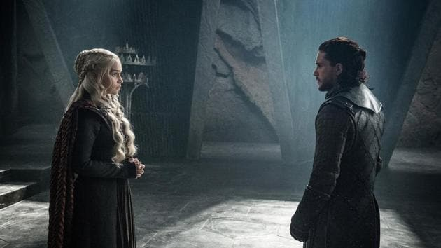 This photo provided by HBO shows Emilia Clarke as Daenerys Targaryen and Kit Harington as Jon Snow in a scene from HBO's Game of Thrones. The final season premieres on Sunday. (Helen Sloan/Courtesy of HBO via AP)(AP)