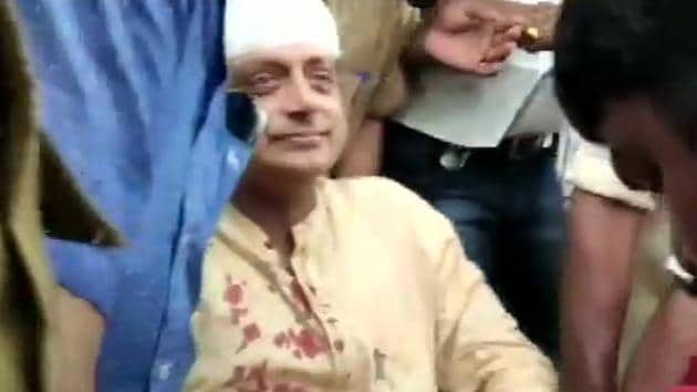 Congress leader and candidate from Kerala's Thiruvananthapuram Lok Sabha constituency Shashi Tharoor received head injuries on Monday in an accident at a temple.(ANI photo)