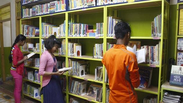The library, the brainchild of authors Mridula Koshy and Michael Creighton, is open seven days, from 10am to 6pm(Yogendra Kumar/HT PHOTO)