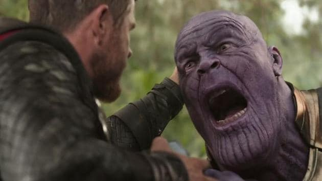 Thor vs Thanos in a still from Avengers: Infinity War.