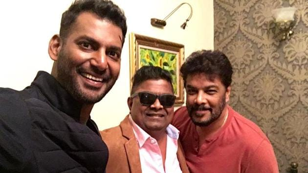 Vishal and Mysskin will soon work in Thupparivaalan 2. Seen here, the two with director Sundar C.