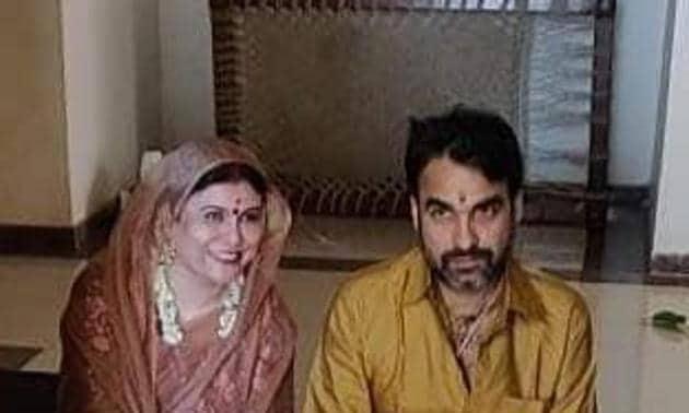 Pankaj Tripathi with wife Mridula as they perform puja at their new house.
