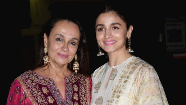 Soni Razdan with her daughter and Alia Bhatt at the screening of the film No Fathers in Kashmir in Mumbai.(IANS)