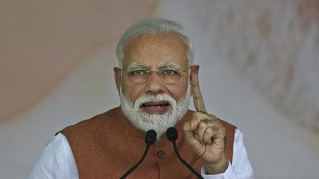 """Addressing a poll rally here in Chhattisgarh, Modi said the India of today carries out surgical and air strikes across the border and shoots down satellite in space due to the strength of """"one vote"""" of the people.(AP)"""