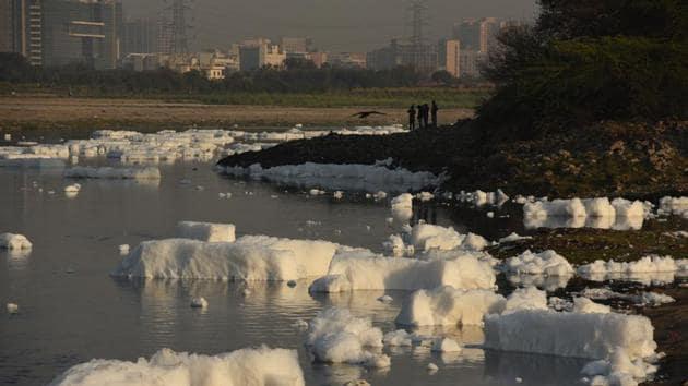 A polluted section of the Yamuna river at Kalindi Kunj , Noida.(Virendra Singh Gosain/HT PHOTO)