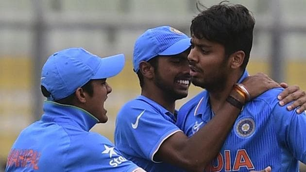 File image of Avesh Khan (R) celebrating with teammates after the fall of a wicket.(AFP/Getty Images)