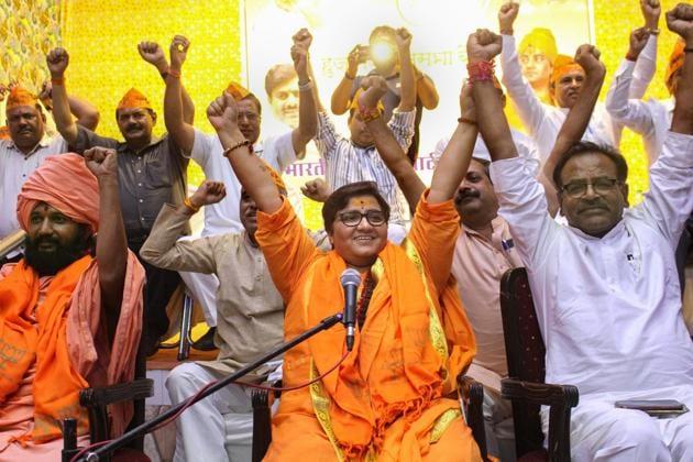 BJP candidate Sadhvi Pragya Singh Thakur gestures while addressing a party workers' meeting for Lok Sabha polls, Bhopal, April 18, 2019(PTI)