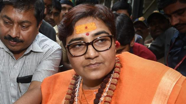 Sadhvi Pragya Singh Thakur had created a furore with her remarks on former ATS chief Hemant Karkare who had died in the 26/11 Mumbai attack.(PTI)