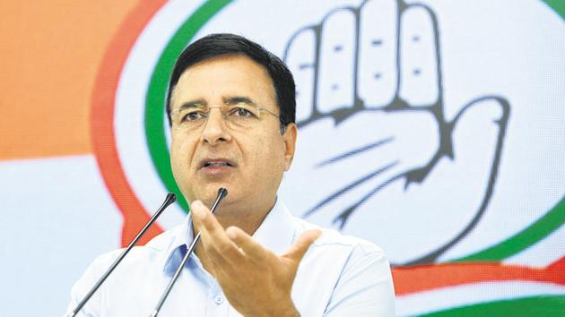 Randeep Singh Surjewala on Thursday ruled out any alliance with either the Aam Aadmi Party (AAP) or the Jannayak Janata Party (JJP) in Haryana and Punjab.(Sushil Kumar/HT PHOTO)