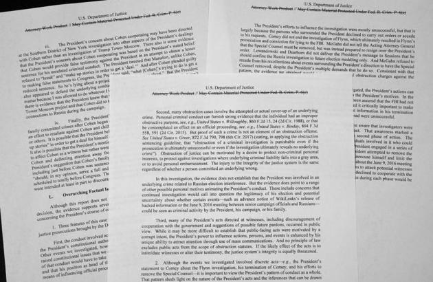 Special counsel Robert Mueller's redacted report on the investigation into Russian interference in the 2016 presidential election is photographed Thursday, April 18, 2019, in Washington. (AP Photo/Jon Elswick)(AP)