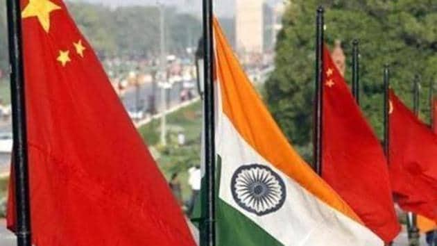National-Flag-of-China-and-India-at-Vijay-Chowk-on-Rajpath(HT file photo)