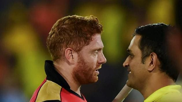 Hyderabad: SRH batsman Jonny Bairstow greeted by M S Dhoni after SRH win during the Indian Premier League 2019.(PTI)