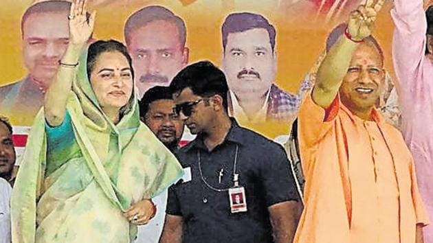 Uttar Pradesh Chief Minister Yogi Adityanath campaigns for BJP parliamentary candidate from Rampur, Jaya Prada, during an election rally ahead of the Lok Sabha elections, in Rampur, Sunday, April 21, 2019.(PTI)