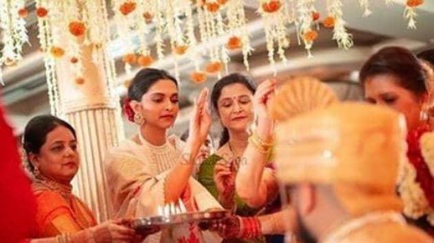 Deepika Padukone spotted at a Mumbai wedding.(Instagram)