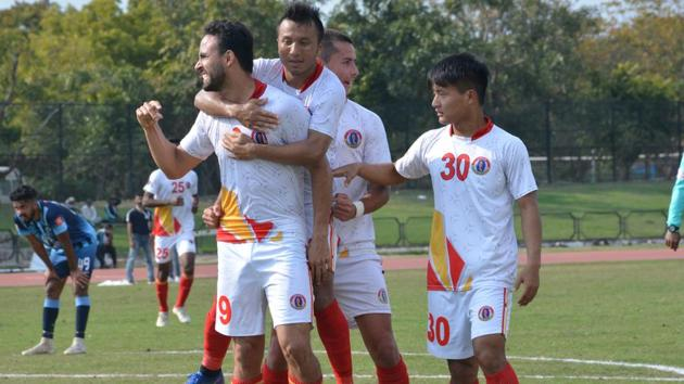 A file photo of East Bengal during their match against Minerva Punjab.(HT Photo)