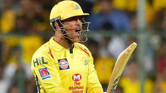 MS Dhoni reacts during the Indian Premier League 2019.(PTI)