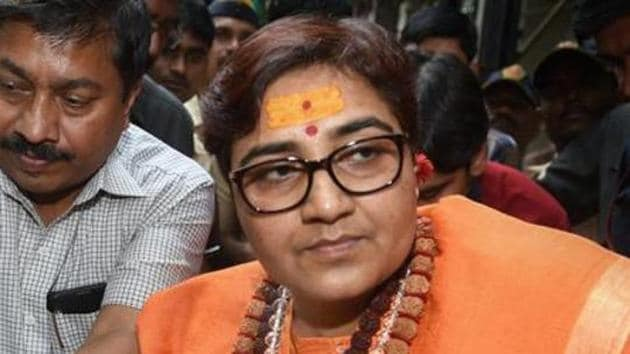 Pragya Thakur is contesting against Congress candidate and former chief minister Digvijaya Singh. Bhopal goes to polls in the sixth round of the seven-phased Lok Sabha election on May 12.(PTI)
