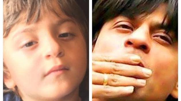 A collage of Shah Rukh Khan and AbRam Khan.