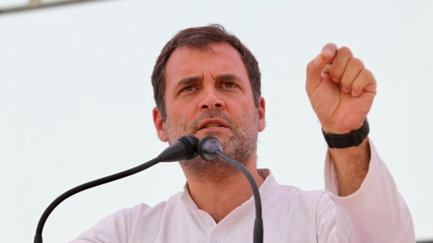 Congress president Rahul Gandhi at an election rally in Rae Bareli on Saturday.(Congress)