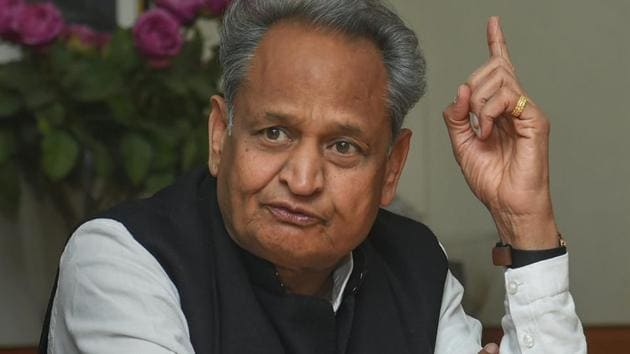 """Lok Sabha elections 2019: """"My mission is to keep the Congress's flag aloft in my country, my state, and my district,"""" said Rajasthan chief minister Ashok Gehlot.(PTI Photo)"""