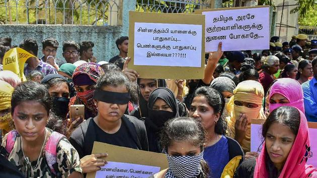 College students and women from several organisations hold placards as they stage a protest urging the government to act immediately on Pollachi's sexual assault incident, in Madurai on March 18, 2019.(PTI FILE PHOTO)