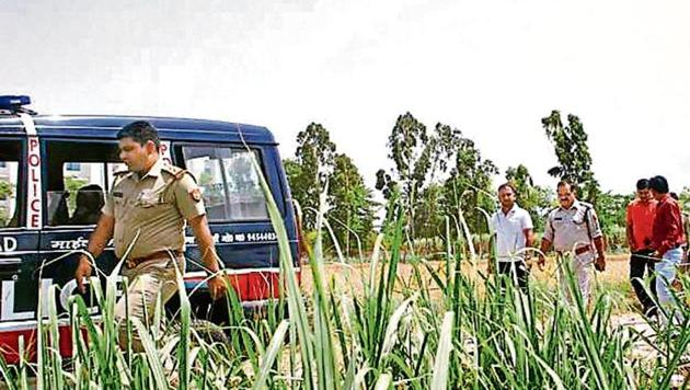 The police said that Aditya's body was recovered from the fields near the forensic science laboratory in Niwari on Sunday morning.(HT Photo)