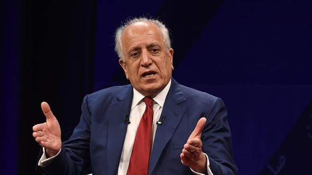US special representative for Afghan peace and reconciliation Zalmay Khalilzad during a talk in Kabul on Saturday.(AFP)