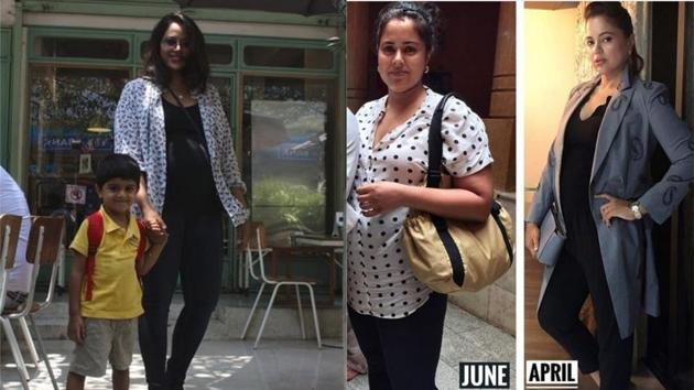 Sameera Reddy with son Hans at a restaurant and her body transformation.