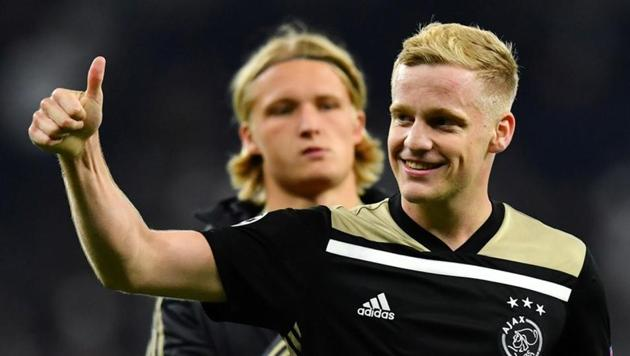 Ajax's Donny van de Beek celebrates after the match(REUTERS)