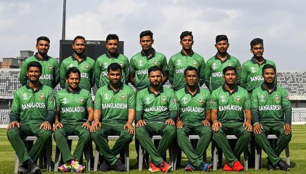 (FILES) In this file photo taken on April 29, 2019 Bangladesh cricket team members pose for photograph as they wear the team's official jersey at the Sher-e-Bangla National Cricket Stadium in Dhaka, ahead of the ICC World Cup in England(AFP)