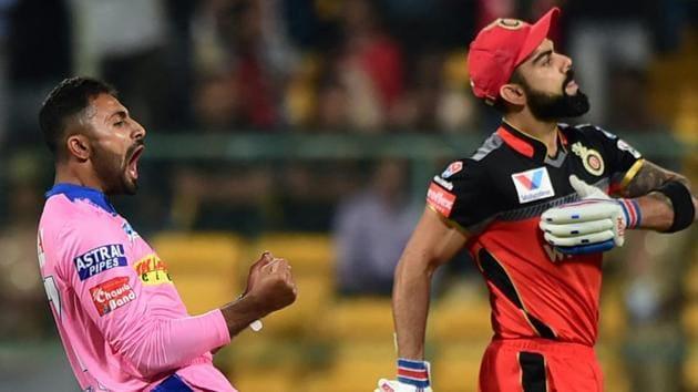 RCB batsman Virat Kohli returns pavilion as RR bowler Shreyas Gopal celebrates during the Indian Premier League 2019.(PTI)
