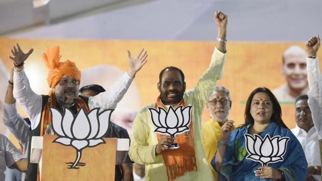 New Delhi, India - May 1, 2019: Bharatiya Janata Party (BJP) President Amit Shah addresses the audience during an election rally ahead of the Lok Sabha elections, at Vasant Kunj, in New Delhi, India, on Wednesday, May 1, 2019. (Photo by Vipin Kumar / Hindustan Times)(Vipin Kumar/HT PHOTO)
