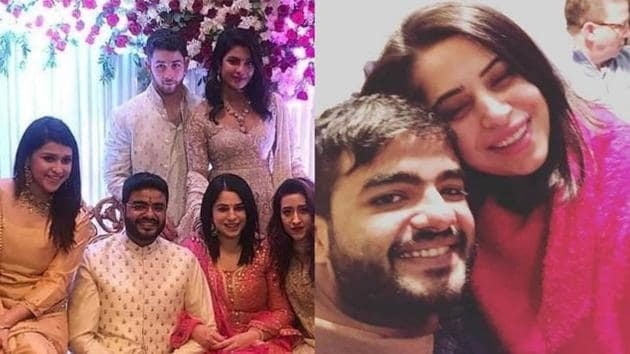 Priyanka Chopra's brother Siddharth Chopra and Ishita Kumar during their roka ceremony (left), Siddharth and Ishita together (right).(Instagram)