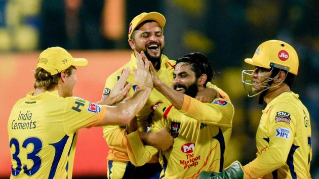 File image of players of CSK celebrating after the fall of a wicket.(AFP)