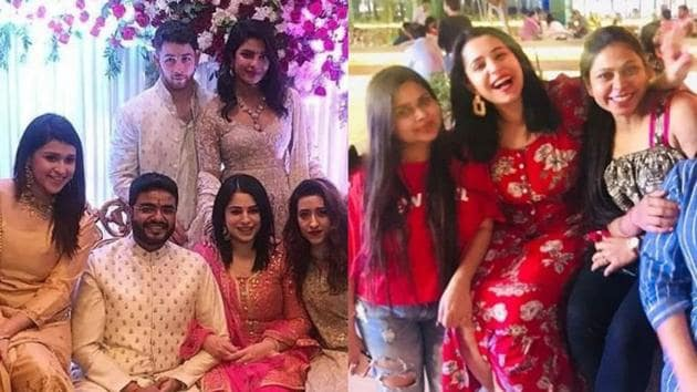 Ishita Kumar during her roka ceremony (left) and (right) with her friends in Mumbai.(Instagram)