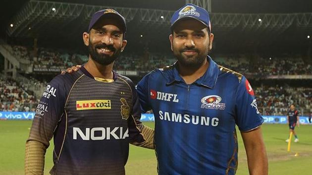 KKR captain Dinesh Karthik and MI captain Rohit Sharma(BCCI)