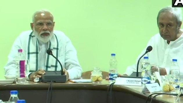 Prime Minister Narendra Modi at a review meeting on cyclone Fani on Monday.(ANI)