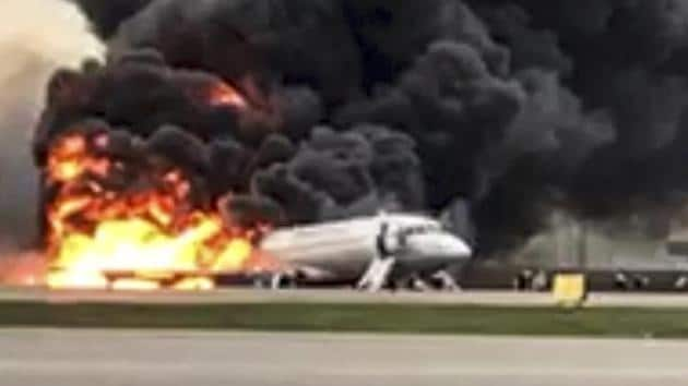 At least 40 people died when an Aeroflot airliner burst into flames while making an emergency landing at Moscow's Sheremetyevo airport, officials said early Monday.(AP photo)