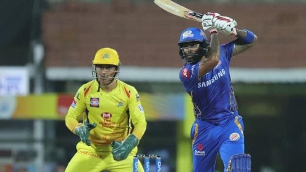 Suryakumar Yadav plays a shot during the MI vs CSK Qualifier 1 match at Chennai(BCCI)