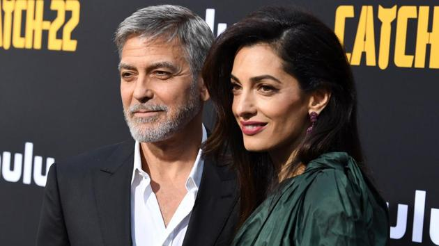 George Clooney and Amal Clooney attend the U.S. premiere of Hulu's Catch-22 at TCL Chinese Theatre.(AFP)
