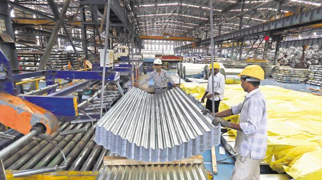 Industrial output contracted 0.1 per cent in March due to slowdown in the manufacturing sector, official data showed Friday.(Bloomberg)