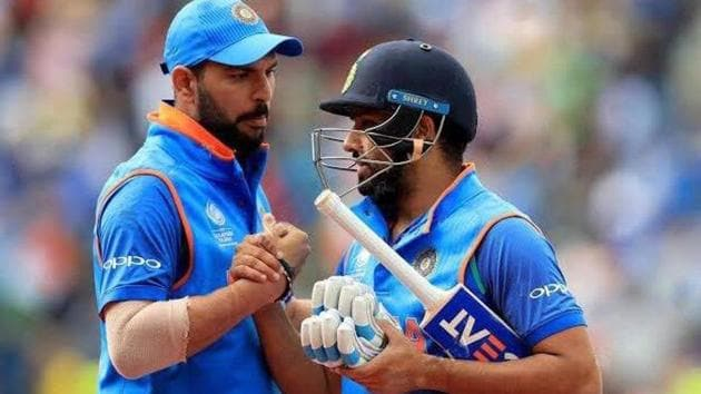 A file photo of Yuvraj Singh (L) and Rohit Sharma.(Twitter)