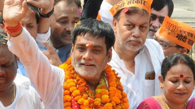 File photo of BJP leader Ram Kripal Yadav after he filed his nomination from the Patliputra constituency on Thursday, April 25, 2019.(AP Dube / HT Photo)