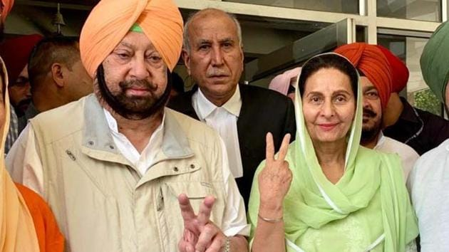 Congress candidate Preneet Kaur with her husband and Punjab Chief Minister Capt Amrinder Singh and others after filing nomination for Patiala Lok Sabha seat.(ANI File Photo)