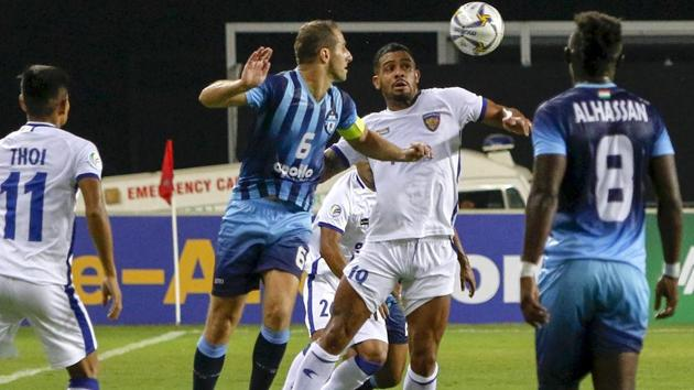 A file photo showing players of Chennaiyin FC and Minerva Punjab F.C in action during the AFC football cup match.(PTI)