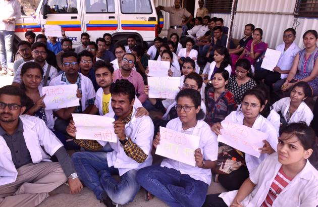 Medical students from the Maratha community had protested at Azad Maidan on May 11, urging the government to help them secure admissions under the SEBC quota in post-graduate medical and dental courses this year.(HT FILE)