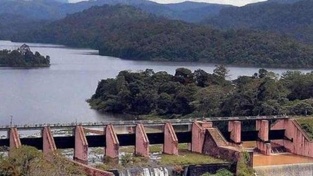 The controversial Mullaperiyar dam in Idukki district of Kerala.(HT FILE PHOTO)