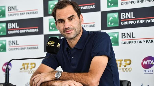 Roger Federer of Switzerland looks on during a press conference at the ATP Masters tennis tournament.(AFP)